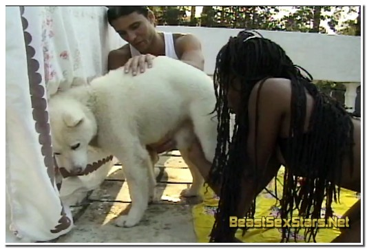 AnimalFlix.Com - Black Girl And Two Dogs